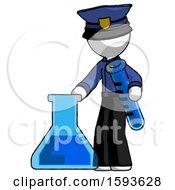 White Police Man Holding Test Tube Beside Beaker Or Flask