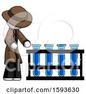 White Detective Man Using Test Tubes Or Vials On Rack