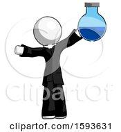 White Clergy Man Holding Large Round Flask Or Beaker