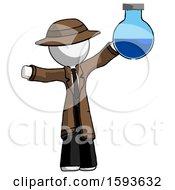 White Detective Man Holding Large Round Flask Or Beaker