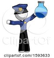 White Police Man Holding Large Round Flask Or Beaker