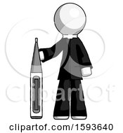 White Clergy Man Standing With Large Thermometer