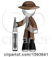 White Detective Man Standing With Large Thermometer