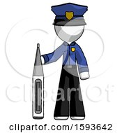 White Police Man Standing With Large Thermometer