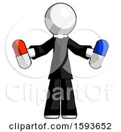 White Clergy Man Holding A Red Pill And Blue Pill