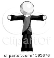 White Clergy Man T Pose Arms Up Standing