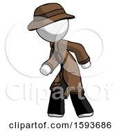 White Detective Man Suspense Action Pose Facing Left