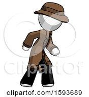 White Detective Man Suspense Action Pose Facing Right
