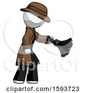White Detective Man Dusting With Feather Duster Downwards