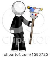 White Clergy Man Holding Jester Staff