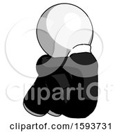 White Clergy Man Sitting With Head Down Back View Facing Left