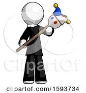 White Clergy Man Holding Jester Diagonally