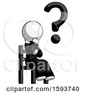 White Clergy Man Question Mark Concept Sitting On Chair Thinking