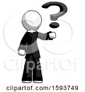 White Clergy Man Holding Question Mark To Right