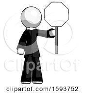 White Clergy Man Holding Stop Sign