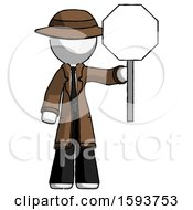 White Detective Man Holding Stop Sign