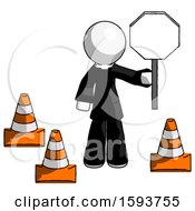 White Clergy Man Holding Stop Sign By Traffic Cones Under Construction Concept