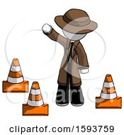 White Detective Man Standing By Traffic Cones Waving