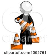 White Clergy Man Holding A Traffic Cone