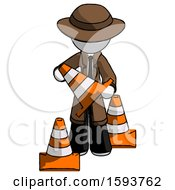 White Detective Man Holding A Traffic Cone