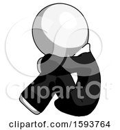 White Clergy Man Sitting With Head Down Facing Sideways Left