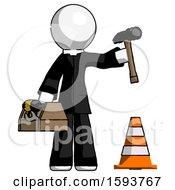 White Clergy Man Under Construction Concept Traffic Cone And Tools