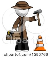 White Detective Man Under Construction Concept Traffic Cone And Tools
