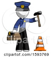 White Police Man Under Construction Concept Traffic Cone And Tools