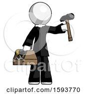 White Clergy Man Holding Tools And Toolchest Ready To Work
