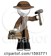 White Detective Man Holding Tools And Toolchest Ready To Work