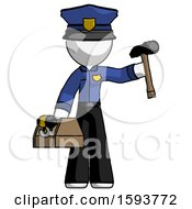 White Police Man Holding Tools And Toolchest Ready To Work