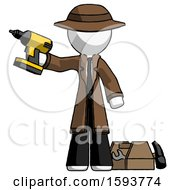 White Detective Man Holding Drill Ready To Work Toolchest And Tools To Right