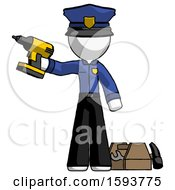 White Police Man Holding Drill Ready To Work Toolchest And Tools To Right
