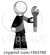 White Clergy Man Holding Wrench Ready To Repair Or Work