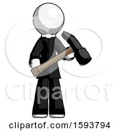 White Clergy Man Holding Hammer Ready To Work