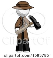 White Detective Man Holding Hammer Ready To Work