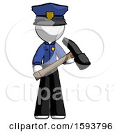 White Police Man Holding Hammer Ready To Work