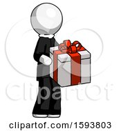 White Clergy Man Giving A Present