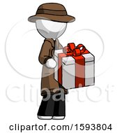 White Detective Man Giving A Present