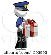 White Police Man Giving A Present