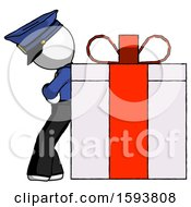 White Police Man Gift Concept Leaning Against Large Present