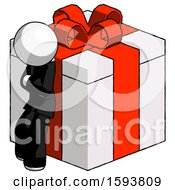 White Clergy Man Leaning On Gift With Red Bow Angle View