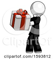 White Clergy Man Presenting A Present With Large Red Bow On It