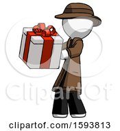 White Detective Man Presenting A Present With Large Red Bow On It