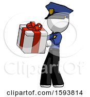 White Police Man Presenting A Present With Large Red Bow On It