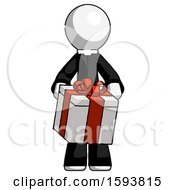 White Clergy Man Gifting Present With Large Bow Front View