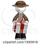 White Detective Man Gifting Present With Large Bow Front View