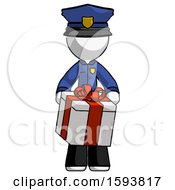 White Police Man Gifting Present With Large Bow Front View
