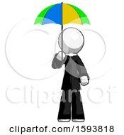 White Clergy Man Holding Umbrella Rainbow Colored