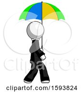 White Clergy Man Walking With Colored Umbrella
